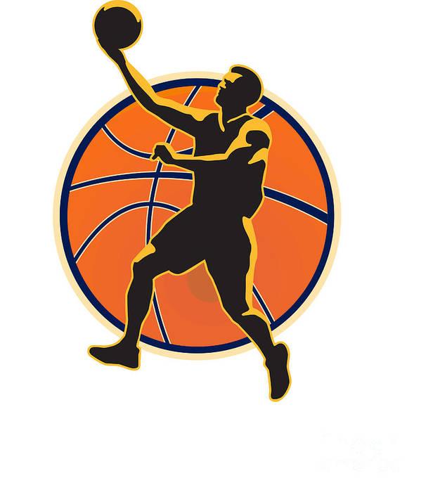 Basketball Print featuring the digital art Basketball Player Lay Up Ball by Aloysius Patrimonio