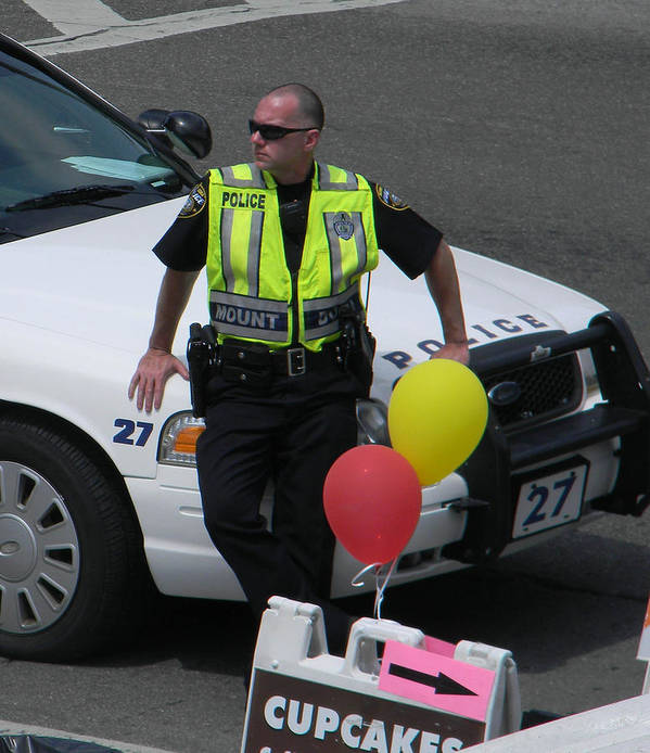 Policeman Print featuring the photograph Cupcake And Balloon Checkpoint by Christy Usilton