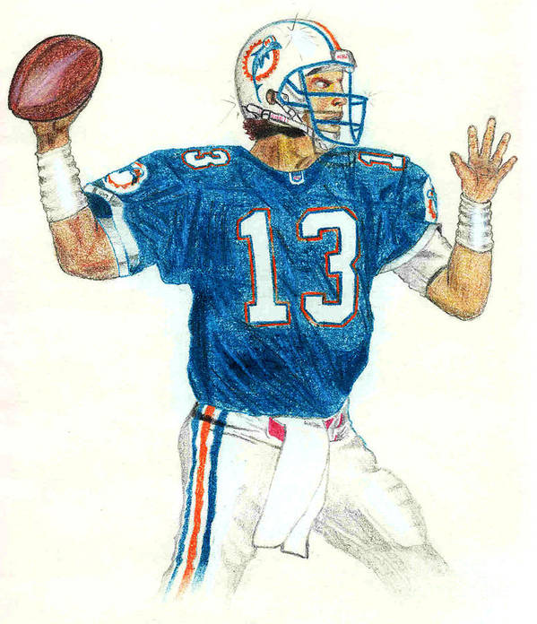 Miami Print featuring the drawing Dan Marino by Craig Nelson