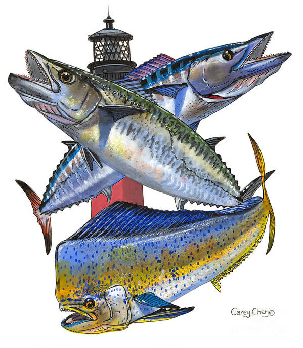 Kingfish Print featuring the painting Kdw Jupiter by Carey Chen