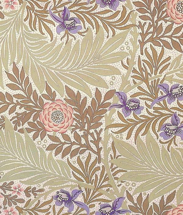 William Print featuring the tapestry - textile Larkspur Design by William Morris
