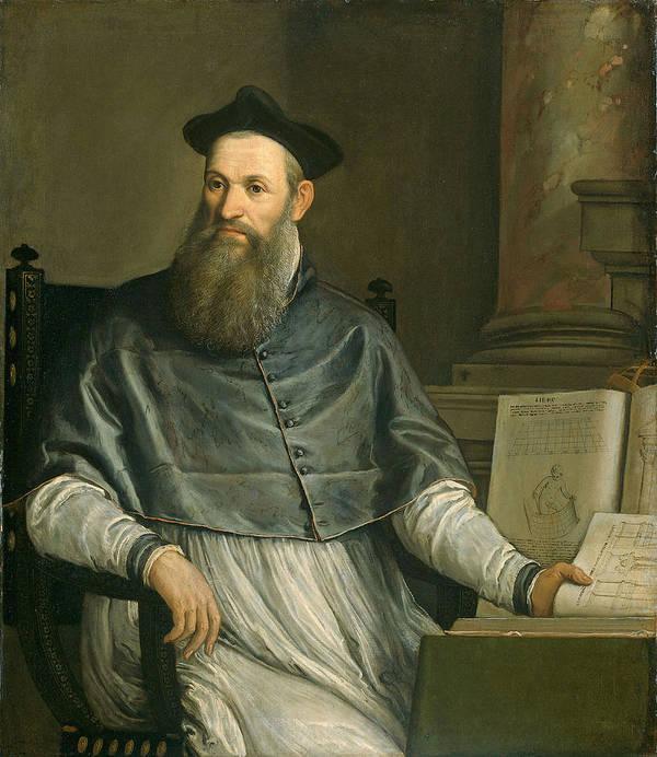 Male; Architect; Designer; Sketch Books; Theologian; Translator; Vitruvius Print featuring the painting Portrait Of Daniele Barbaro by Paolo Caliari Veronese
