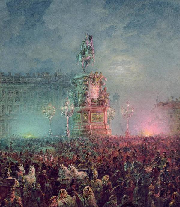 Tsar Nikolai Print featuring the painting The Unveiling Of The Nicholas I Memorial In St. Petersburg by Vasili Semenovich Sadovnikov