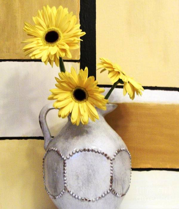 Photo Print featuring the photograph Abstract Yellow Daisies by Marsha Heiken