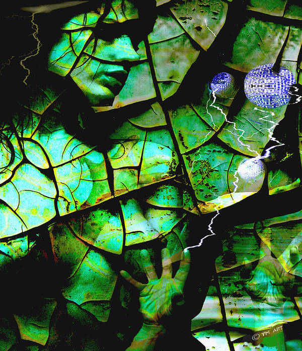 Mother Earth Print featuring the digital art Mother Earth by Yvon van der Wijk