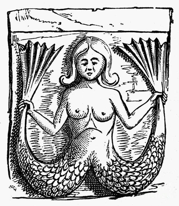 Ancient Print featuring the photograph Mythology: Mermaid by Granger