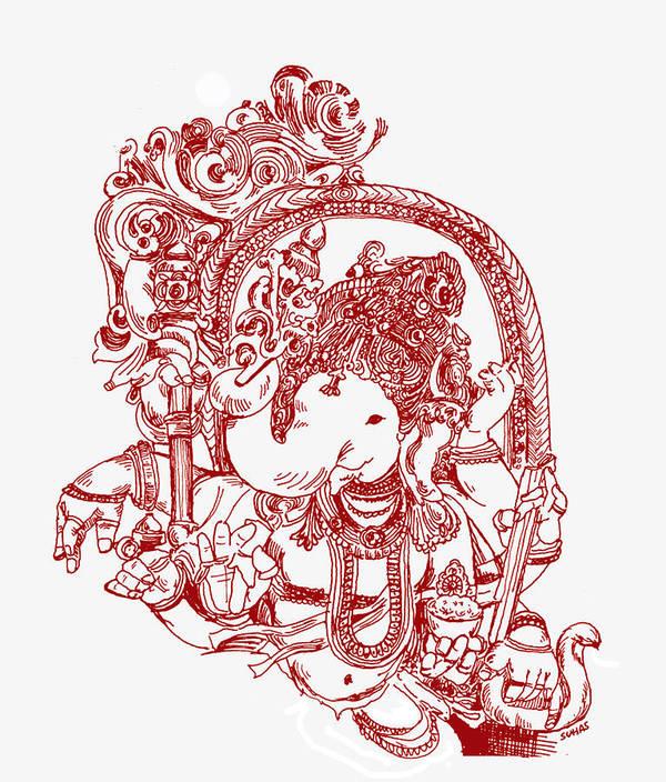 Line Art Hindu Gods : Ganesha line drawing print by suhas tavkar