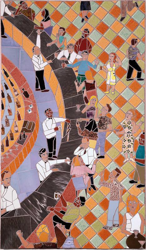 Mosaic Print featuring the digital art Bar Scene by Jonathan Mandell