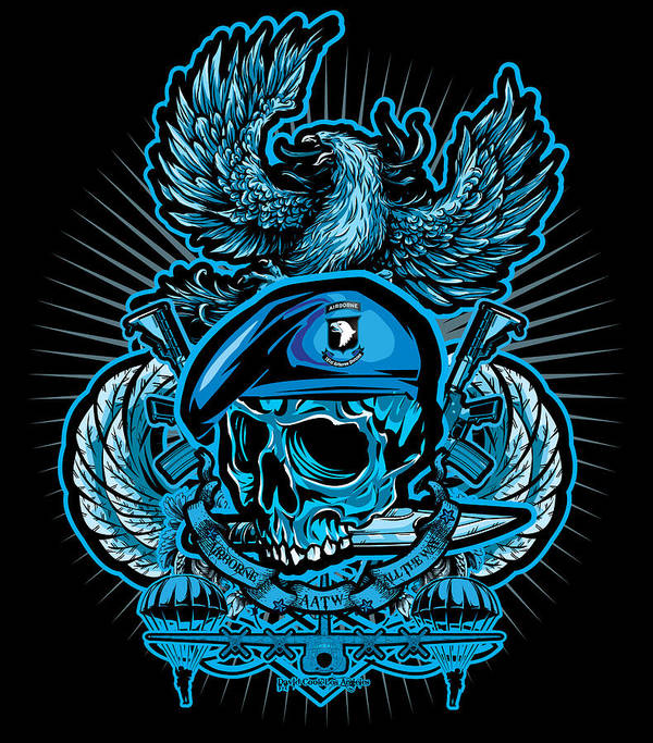 Dcla Print featuring the digital art Dcla Skull Airborne All The Way by David Cook Los Angeles