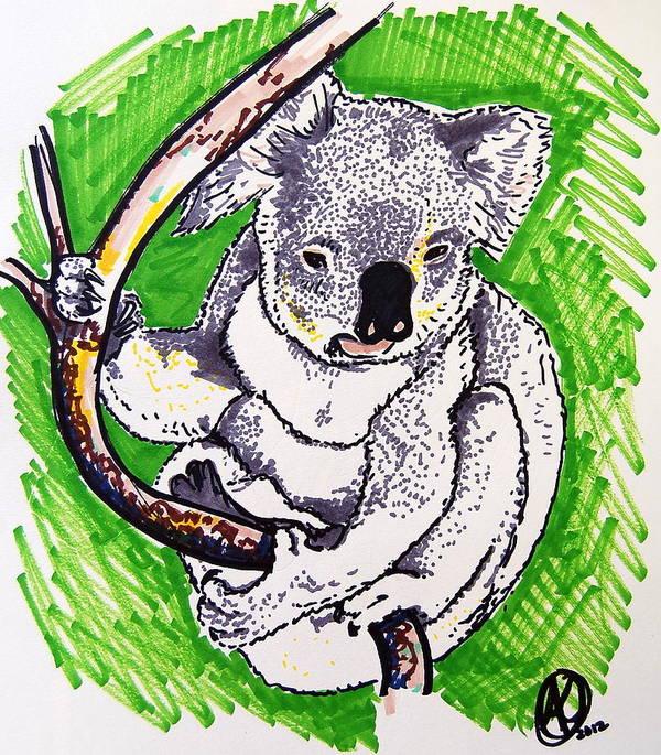 Koala Print featuring the drawing Koala by Andrea Keating