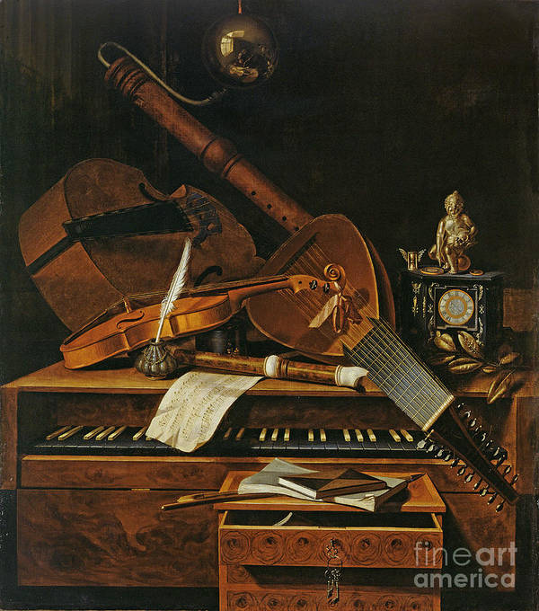 Violin Print featuring the painting Still Life With Musical Instruments by Pieter Gerritsz van Roestraten