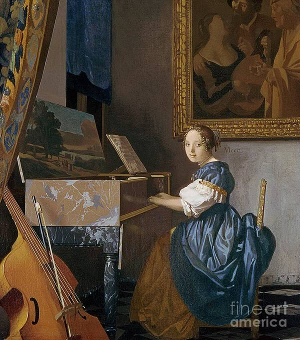Young Print featuring the painting A Young Lady Seated At A Virginal by Jan Vermeer