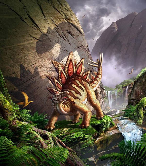 Stegosaurus Print featuring the digital art Against The Wall by Jerry LoFaro
