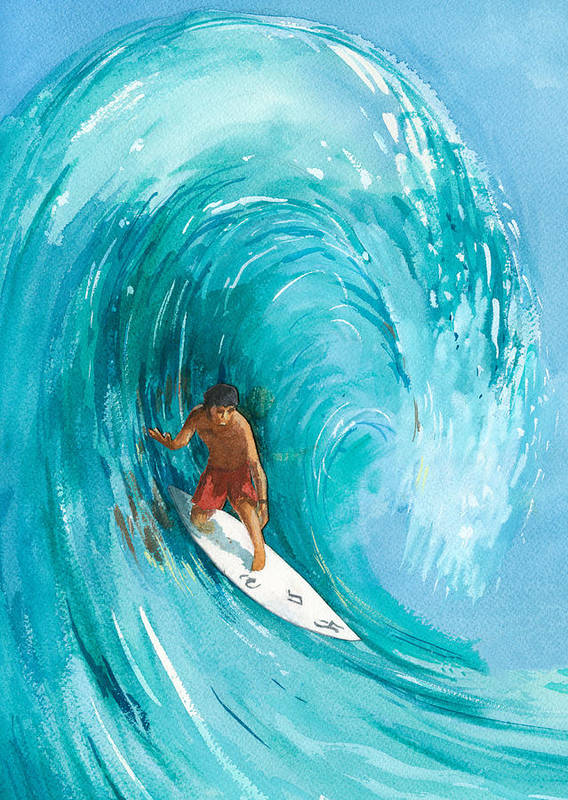 Big Wave Print featuring the painting The Big One by Ray Cole