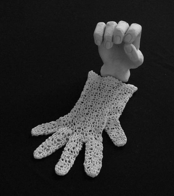 Sculpture Print featuring the sculpture Hand And Glove by Barbara St Jean