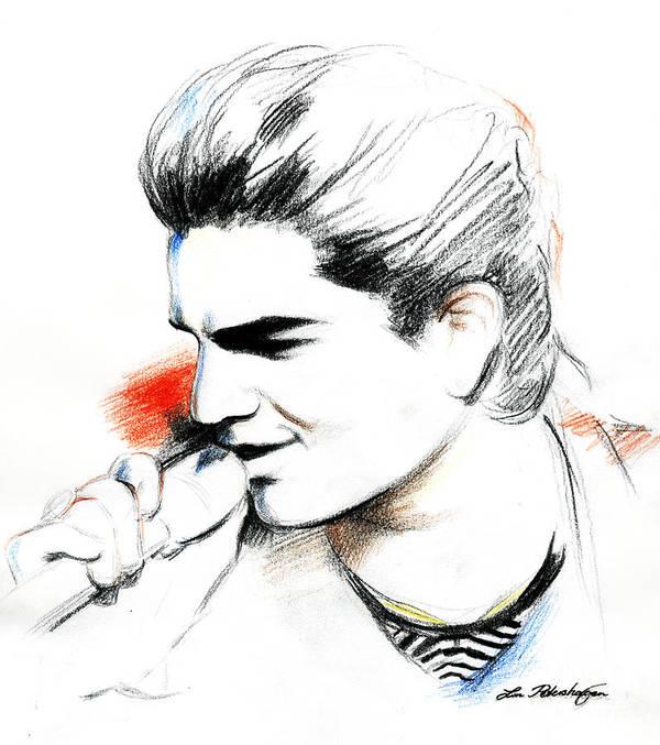 Adam Lambert Print featuring the drawing Adam Lambert by Lin Petershagen