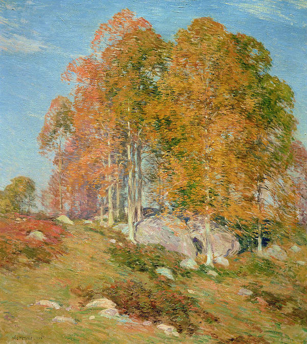 Early October Print featuring the painting Early October by Willard Leroy Metcalf