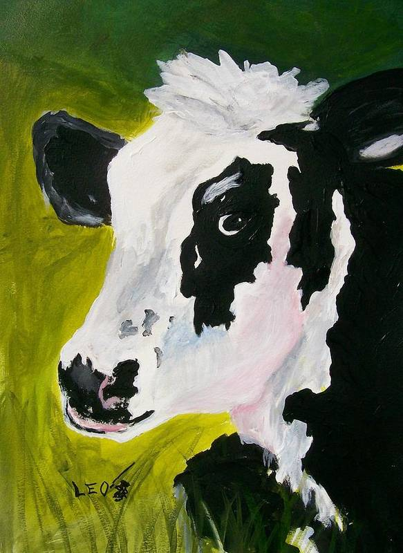 Cows Print featuring the painting Bessy The Cow by Leo Gordon
