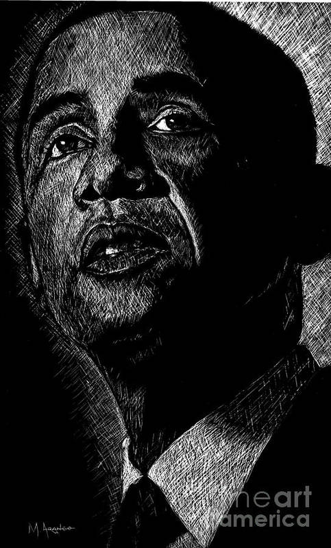 Barack Obama Print featuring the drawing Living The Dream by Maria Arango