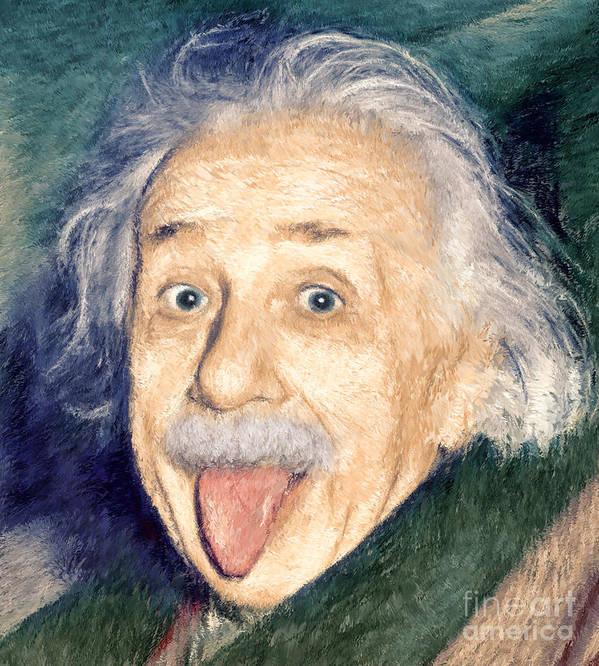 Einstein Print featuring the painting Albert Einstein Impressionist by Giuseppe Persichino