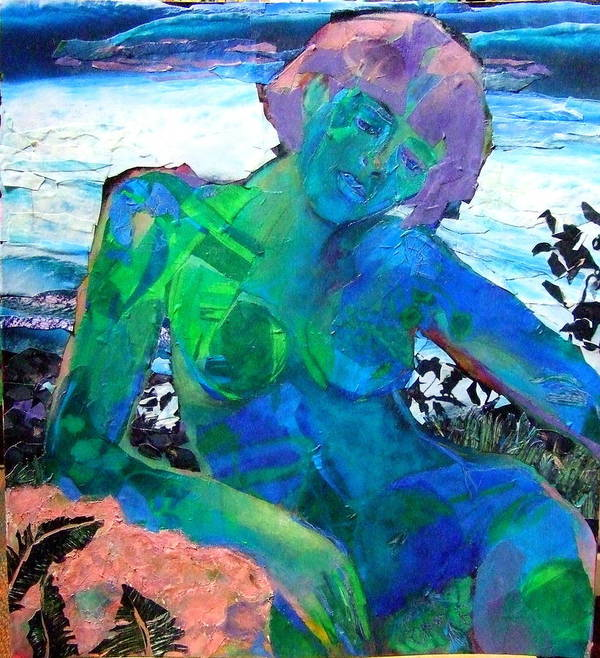 Mixed Media Nude Print featuring the mixed media Mermaid by Diane Fine