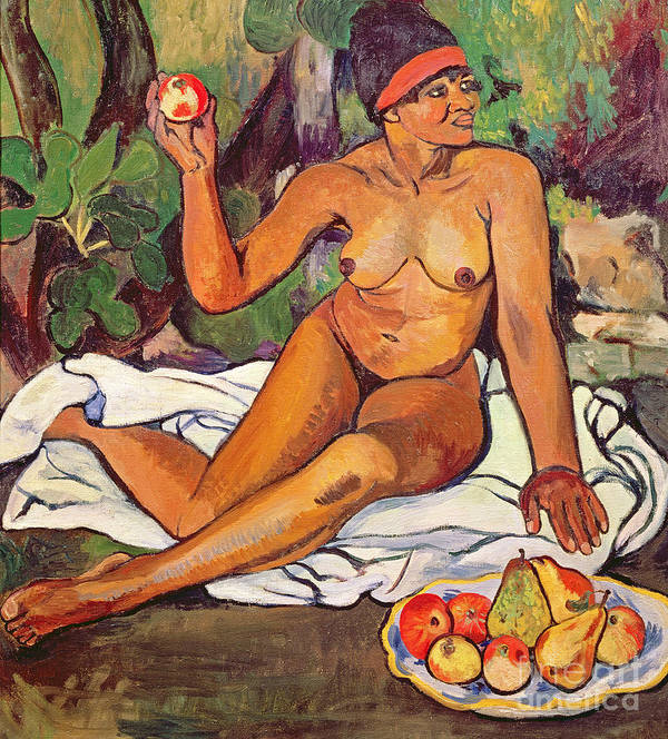 Female; Nude; Red Headband; Seated; Portrait; Fruit; Apples; Pears; Exotic Print featuring the painting Young Half Caste Woman by Marie Clementine Valadon