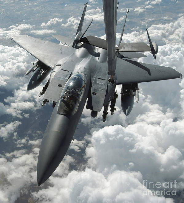 Color Image Print featuring the photograph An F-15 E Strike Eagle Receives Fuel by Stocktrek Images