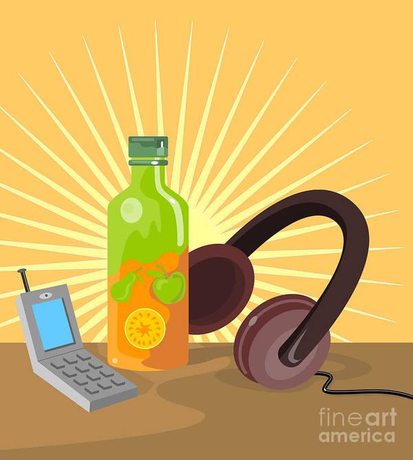 Mobile Phone Print featuring the digital art Mobile Phone Soda Drink Headphone Retro by Aloysius Patrimonio