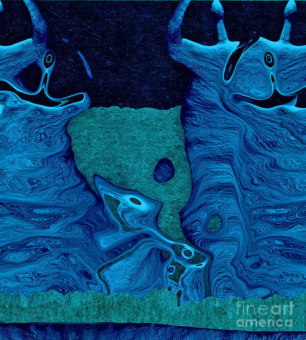 Celebration Print featuring the digital art Stone Men 28c2b - Celebration by Variance Collections