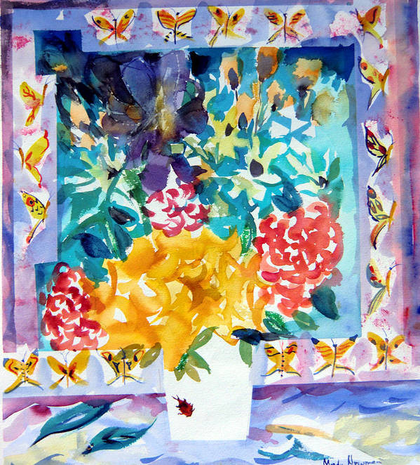 Roses Framed Prints Print featuring the painting Butterfly Bouquet by Mindy Newman
