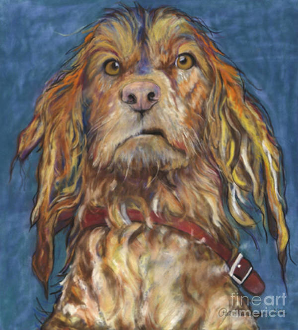 Golden Retriever Painting Print featuring the pastel Drenched by Pat Saunders-White