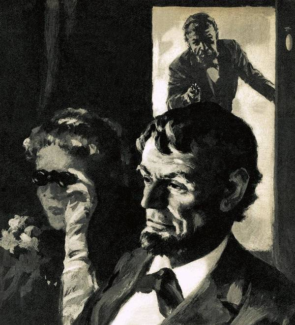 Abraham Lincoln Print featuring the painting The Assassination Of Abraham Lincoln by English School