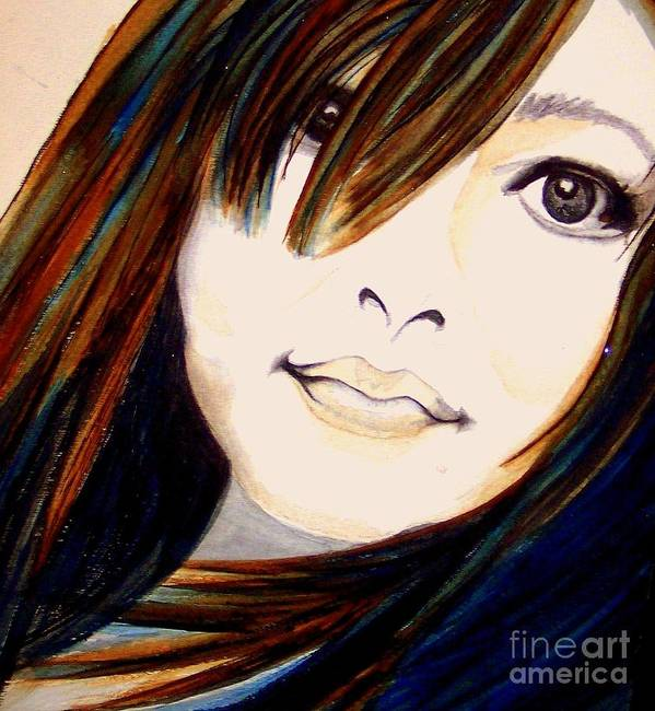 Janine Riley Print featuring the painting Portrait Of A Woman by Janine Riley