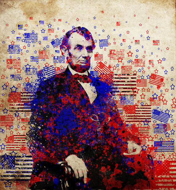 Abraham Lincoln Print featuring the painting Abraham Lincoln With Flags by Bekim Art