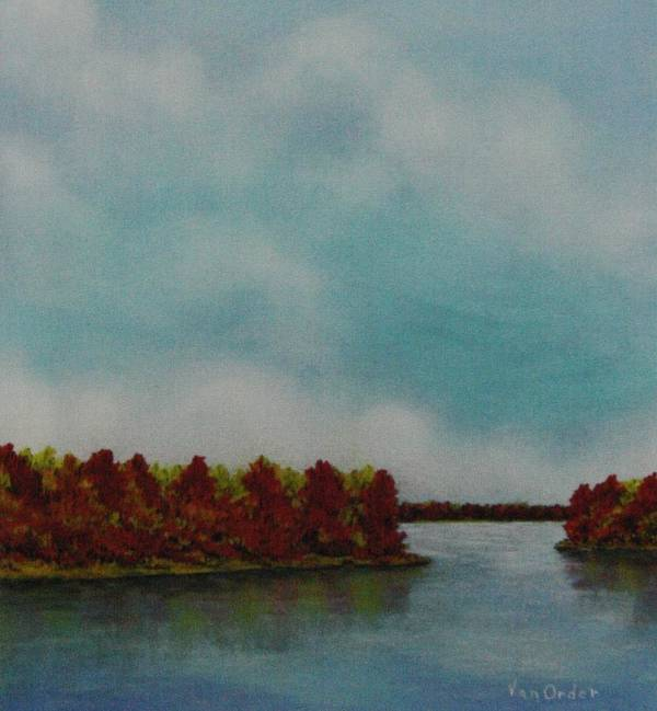 Oak Trees In Fall Colors Print featuring the pastel Red Oaks On The River by Richard Van Order