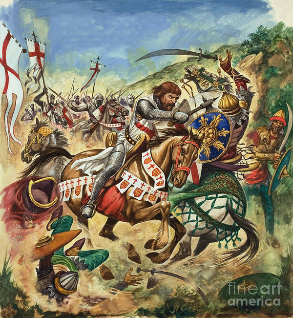 Richard Print featuring the painting Richard The Lionheart During The Crusades by Peter Jackson