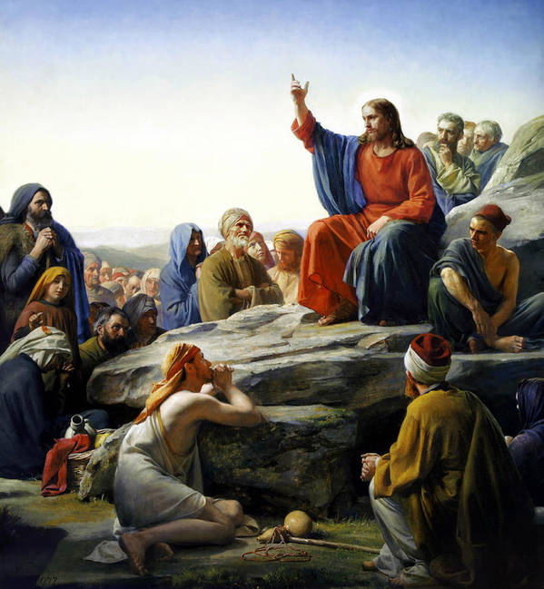Sermon On The Mount Print featuring the painting Sermon On The Mount by Carl Bloch