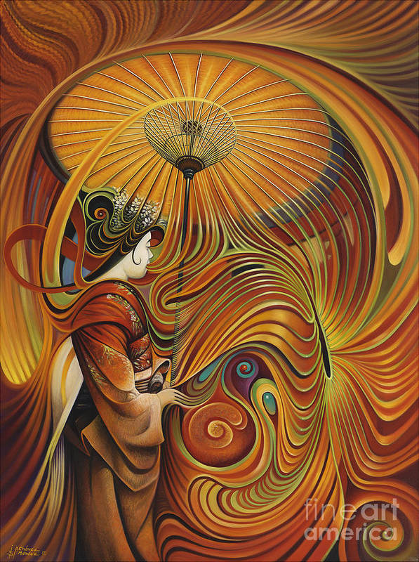 Dynamic Print featuring the painting Dynamic Oriental by Ricardo Chavez-Mendez