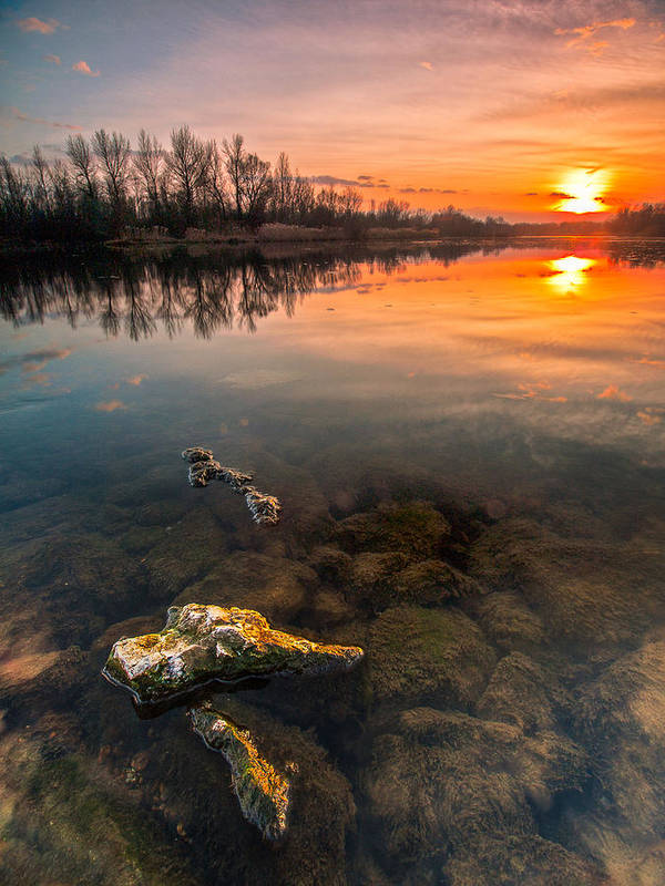 Landscape Print featuring the photograph Watching Sunset by Davorin Mance