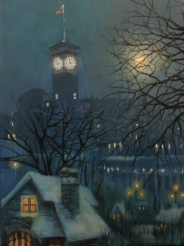 Allen Bradley Clock Tower Print featuring the painting Allen Bradley Clock Milwaukee by Tom Shropshire
