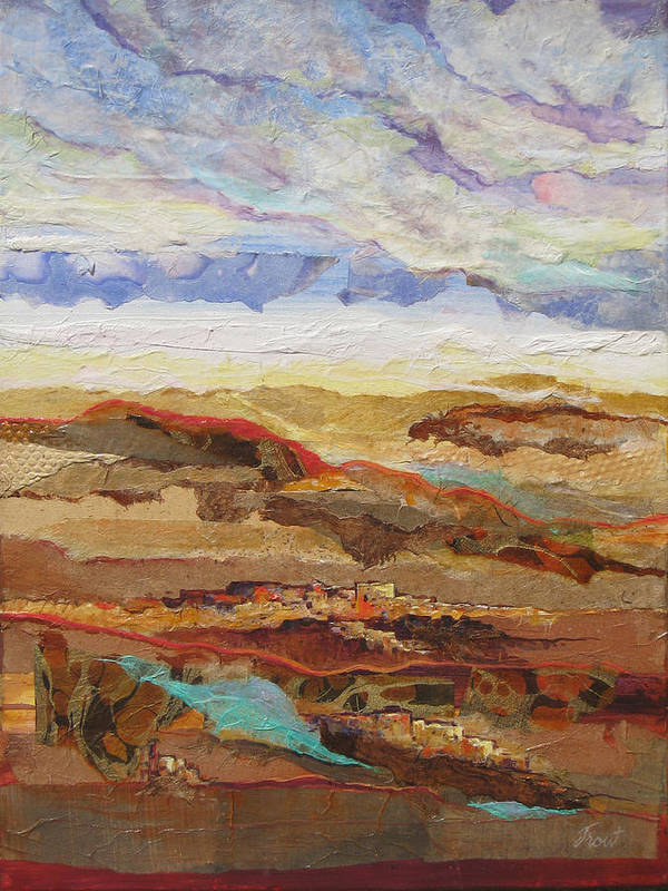 Abstracted Landscape Elements Print featuring the painting Arizona Reflections Number One by Don Trout