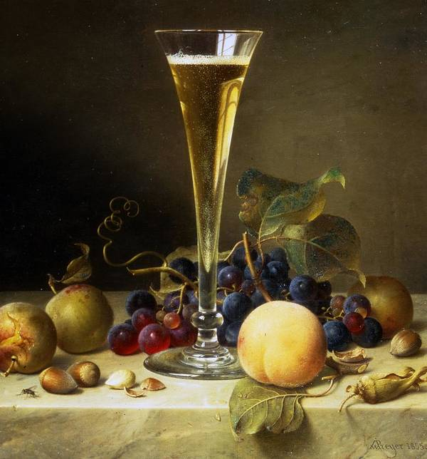 Still; Life; Still-life; Glass; Champagne; Alcohol; Alcoholic; Drink; Drinks; Beverage; Beverages; Fruit; Peach; Plum; Peaches; Plum; Bunch; Grapes; Bunch Of Grapes; Marble; Ledge; Baroque; Dutch Print featuring the painting Still Life With A Glass Of Champagne by Johann Wilhelm Preyer