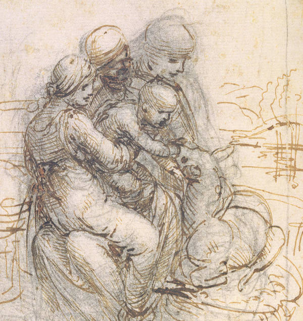 Madonna Print featuring the drawing Virgin And Child With St. Anne by Leonardo da Vinci