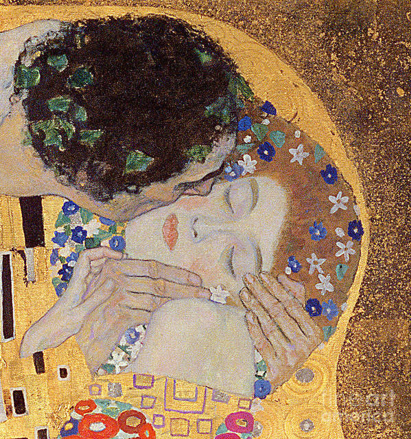 The Print featuring the painting The Kiss by Gustav Klimt