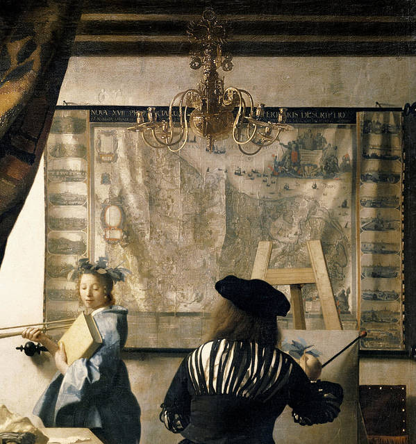 Drapes Print featuring the painting The Artist's Studio by Jan Vermeer