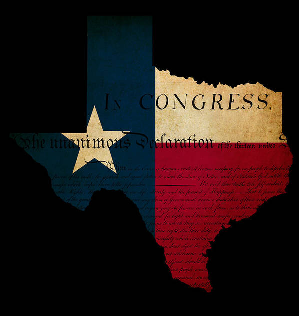 Map Print featuring the photograph Usa American Texas State Map Outline With Grunge Effect Flag Ins by Matthew Gibson