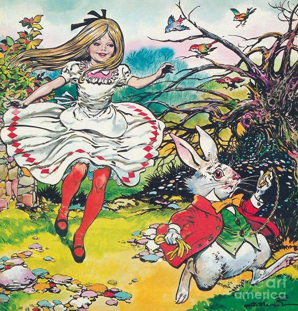 Alice In Wonderland Print featuring the painting Alice In Wonderland by Jesus Blasco