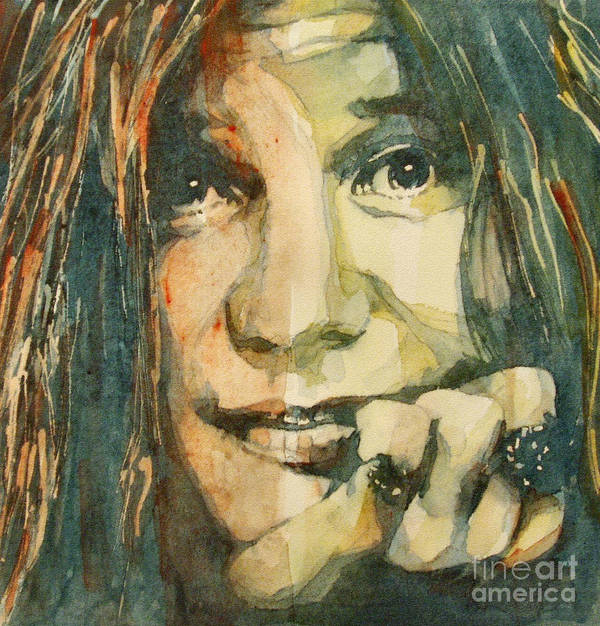 Janis Joplin Print featuring the painting Mercedes Benz by Paul Lovering