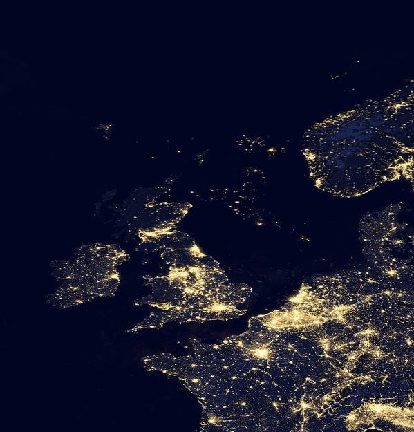 Earth Print featuring the photograph North Sea At Night, Satellite Image by Science Photo Library