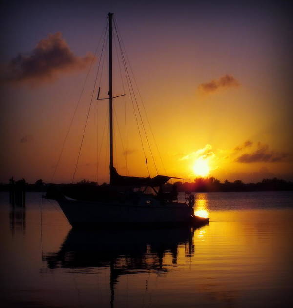Sailboats Print featuring the photograph Silence Of Night by Karen Wiles